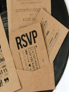 Set of RSVP Cards on the table for the wedding guests.
