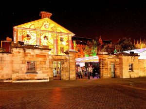 A Fabulous Front view of a Wedding venue with the bright lightings.