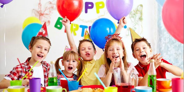 Group of Happy Children In Birthday Party.