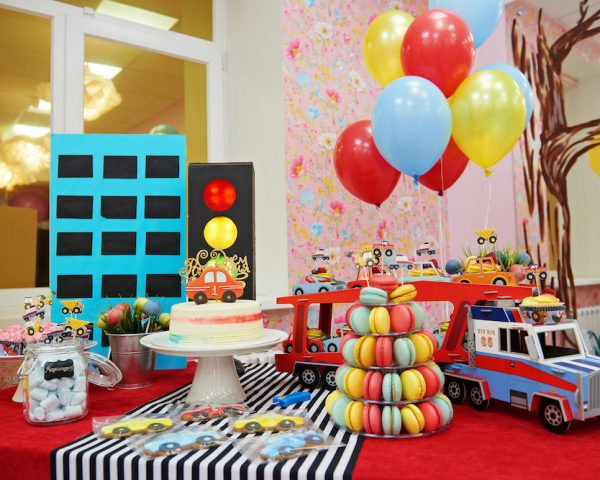 Colorful Balloons And Table With Cakes For Child Birthday Celebration.