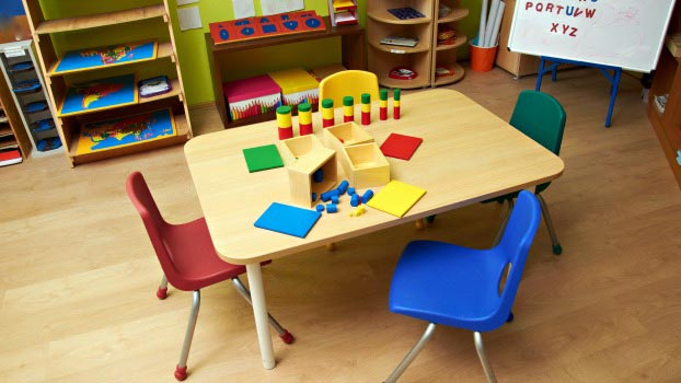 A Set Of Colorful Kindergarden Furniture Placed On The Preschool Classroom.